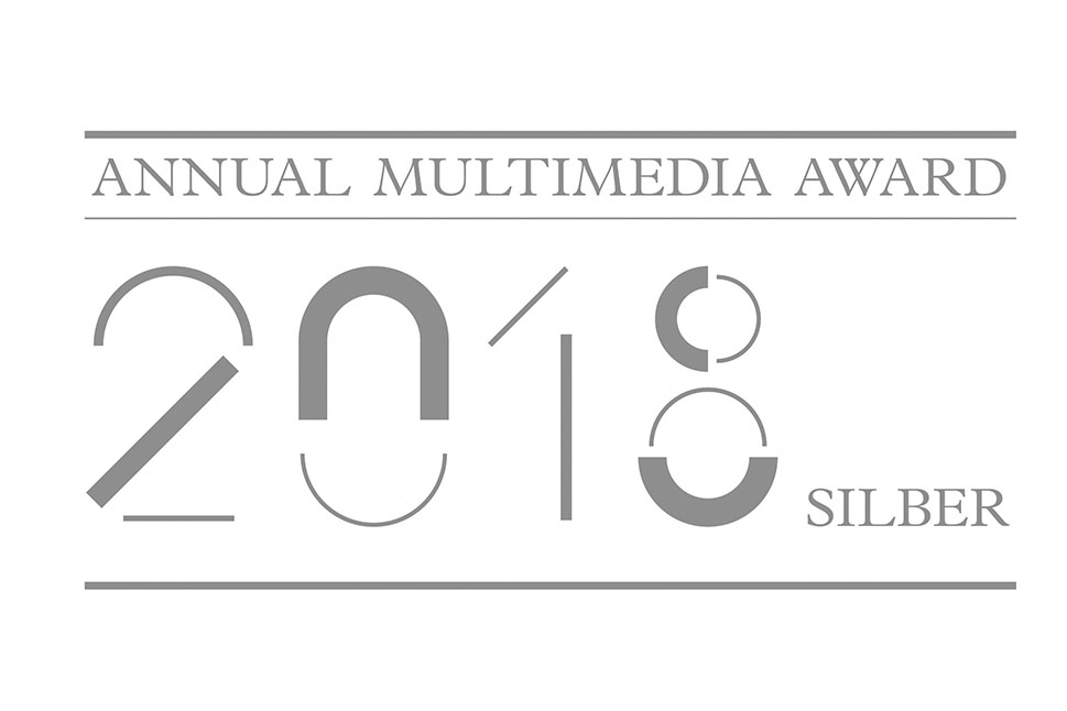Text im Logo lautet: 'Annual Multimedia Award 2018 Silber""